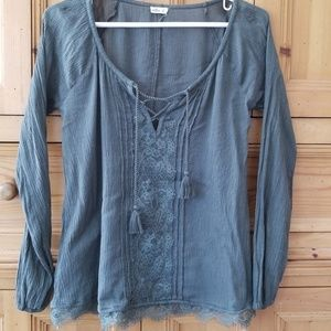 Olive green lace Hollister top